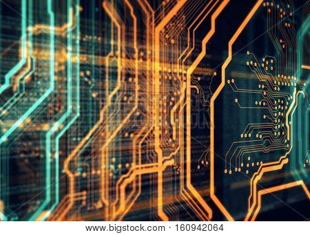 Orange, green background with printed circuit board and html code