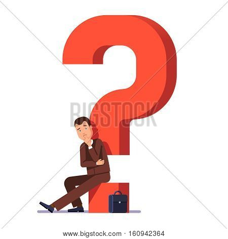 Young business man thinking and asking himself about next job or project. Career choosing concept. Modern flat style vector illustration isolated on white background.