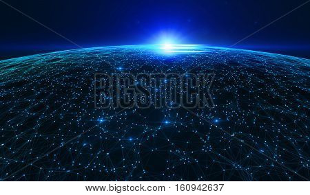 Abstract dark background with connecting dots and lines. Connection structure digital communication. 3d illustration