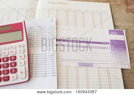 project planner yearly passbook bank with bill deposit for financial expenses and income