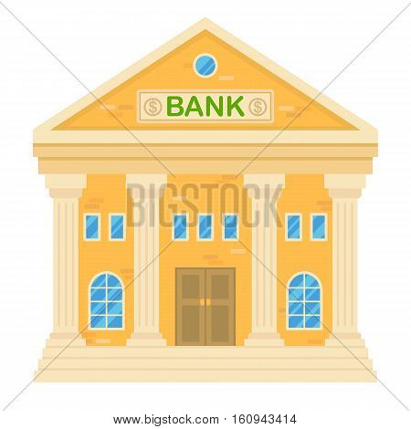 Vector illustration of retro bank building. Facade of a classic house in flat style. Two storey town building with bank.