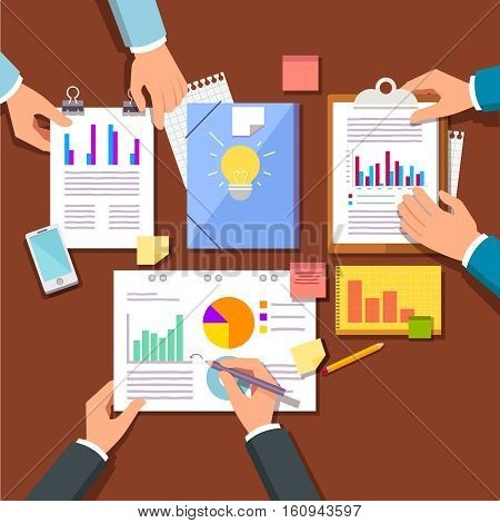 Group discussing new startup business plan marketing and sales ideas and research data. Hands working with statistical papers top view. Modern flat style vector illustration.
