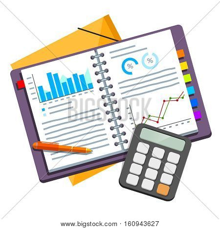 Analyzing and calculating opened business plan documents in spring binder filled with data graphs and diagrams. Modern flat style vector illustration isolated on white background.