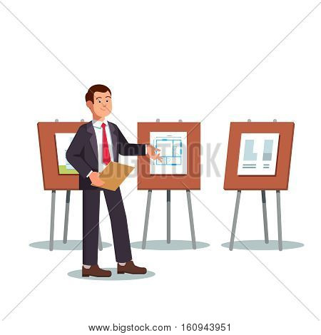 Young architect and presenter showing his project blueprints and floor plans on a presentation boards easels. Modern flat style vector illustration isolated on white background.