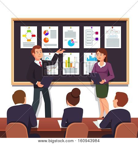 Young entrepreneurs presenting their new start up business project plan to investors for evaluation seeking investment. Modern flat style vector illustration isolated on white background.
