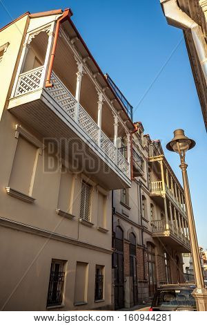 Tbilisi, Capital Of Georgia. Famous Throughout The World Tbilisi Balconies In The Old Town
