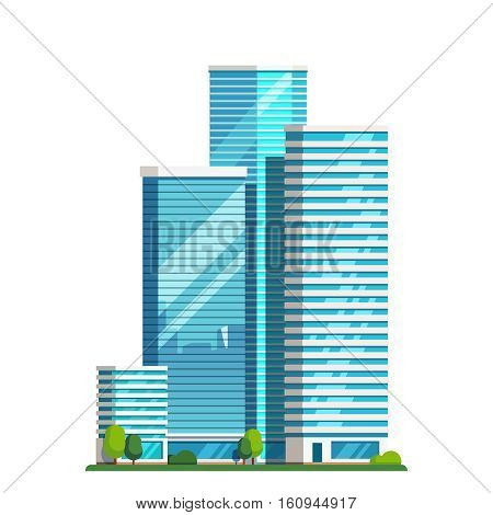 Downtown skyscrapers with skyline reflections on shiny glass facades. Modern flat style vector illustration isolated on white background.