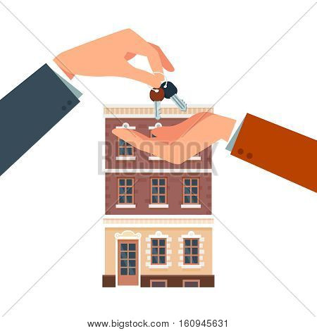 Buying or renting a new house. Real estate agent giving a home key chain to a buyers hand. Modern flat style vector illustration isolated on white background.