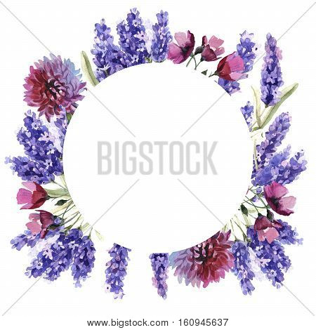 Wildflower lavender flower frame in a watercolor style isolated. Full name of the plant: lavender. Aquarelle wild flower for background, texture, wrapper pattern, frame or border.