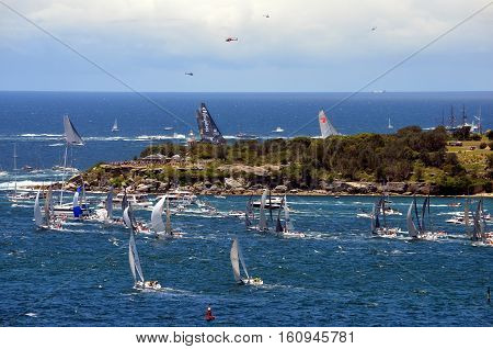 Sydney Australia - December 26 2013. Last Participant Yachts approached South Head. The Sydney to Hobart Yacht Race is an annual event starting in Sydney on Boxing Day and finishing in Hobart.