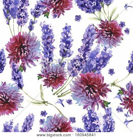 Wildflower lavender flower pattern in a watercolor style isolated. Full name of the plant: lavender. Aquarelle wild flower for background, texture, wrapper pattern, frame or border.