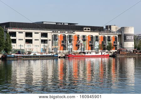 Lyon, France - August 17, 2016: View of Confluence in Lyon with the old chamber of commerce
