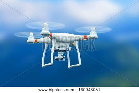 Creative abstract 3D render illustration of professional remote controlled wireless RC quadcopter drone with 4K video and photo camera for aerial photography flying in the air outdoors with selective focus effect poster