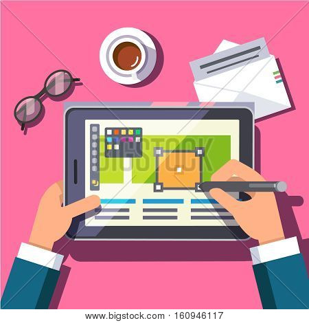 Designer working on a tablet computer with a stylus pen digitizer. Drawing site project layout mockup and drinking morning coffee. Modern flat style vector illustration.