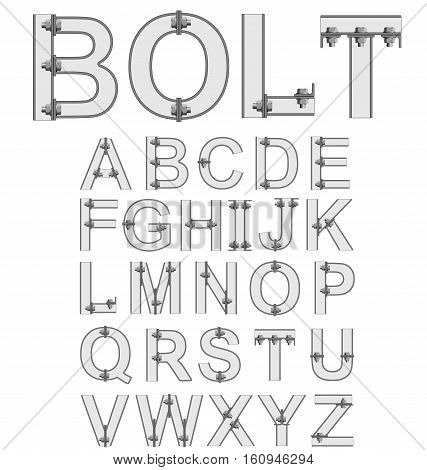 Grey bolted metal alphabet font isolated on white background