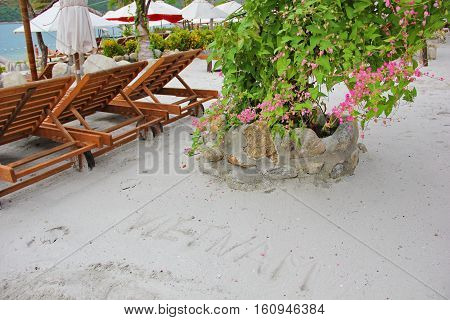 beautiful beach of Vietnam with the inscription on the white sand, the name of the country, shrub with pale pink flowers, wooden sun beds, white umbrellas, sea views