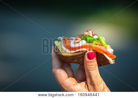 Cheese baguette with tomato health and beauty.