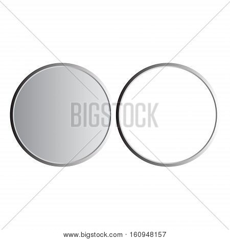Round gray and white metallic illustration on white background