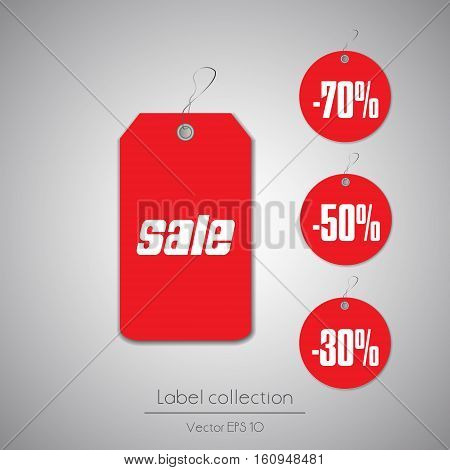 Label hanging tag collection illustration on gray background