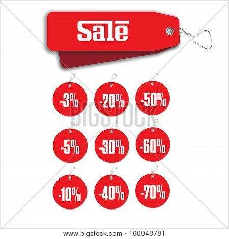 Label round red sale hanging tag collection illustration on white background