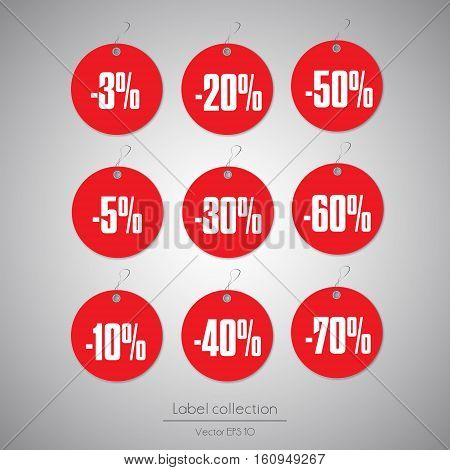 Label round set red hanging tag collection illustration on gray background
