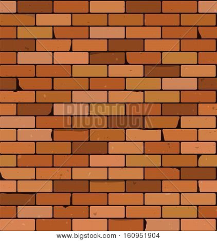Brick wall vector background. Seamless pattern. Textured rough surface. Building construction theme. Grunge brickwork illustration. Old structure template.