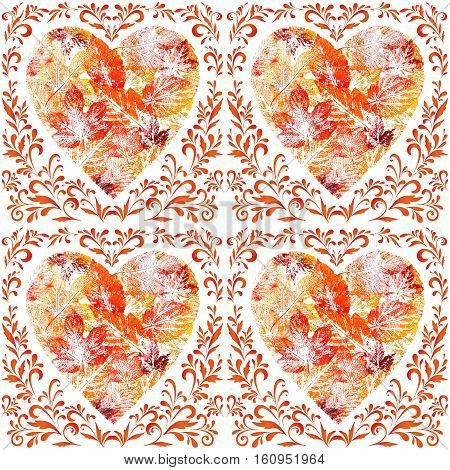 Seamless Pattern, Valentine Hearts from Leaves and Floral Contours Isolated on White Background, Watercolor Painting