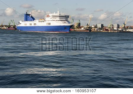 Sea ferry go in the port of Klaipeda Lithuania