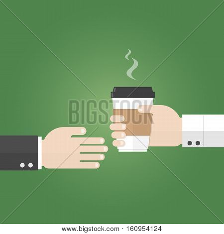 businessman recieve paper cup of coffee from seller hand on green background