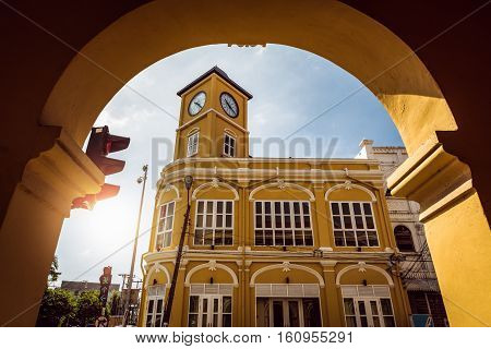 Restored chino-Portuguese clock tower in phuket old town Thailand