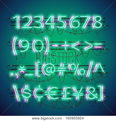 Glowing double neon green numbers and currency symbols set. Used neon brushes included. There are fastening elements in a symbol palette.
