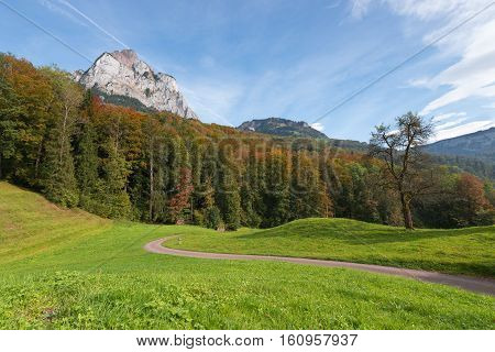 Autumn. Road among meadows in Canton Schwyz. The foliage on the trees orange red and yellow.