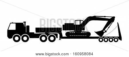 Silhouette of the excavator on the trawl. Vector illustration.
