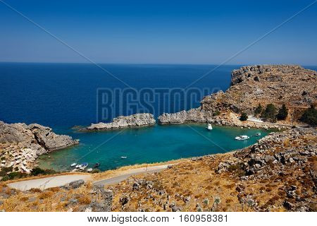 View of a beautiful cove at Saint Paul's Bay, Lindos, Greece
