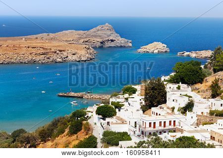 Beautiful view of Lindos bay at sunny bright day, Rhodes, Greece