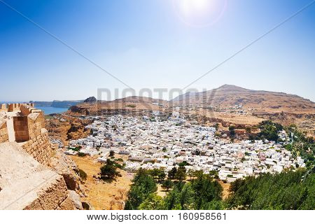 Beautiful landscape of Lindos, view from Acropolis, Rhodes, Greece