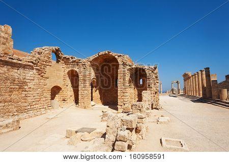 Ruins of ancient St. John church on Lindos Acropolis, Greece