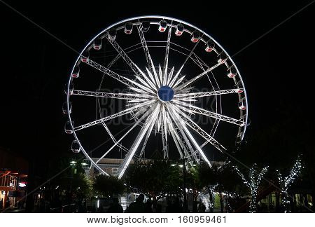 Ferris wheel at the Victoria & Alfred Waterfront of Cape Town in South Africa, night shot