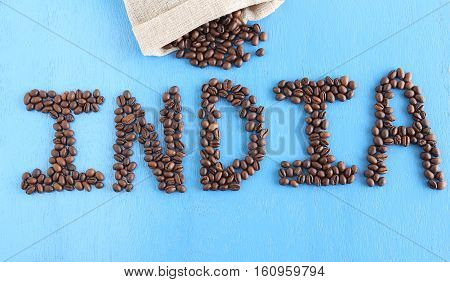 Concept to indicate India as one of the world's largest producers of coffee.