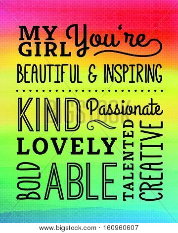My Girl Compliments Poster, typography design with positive adjectives, design elements in black on rainbow gradient background