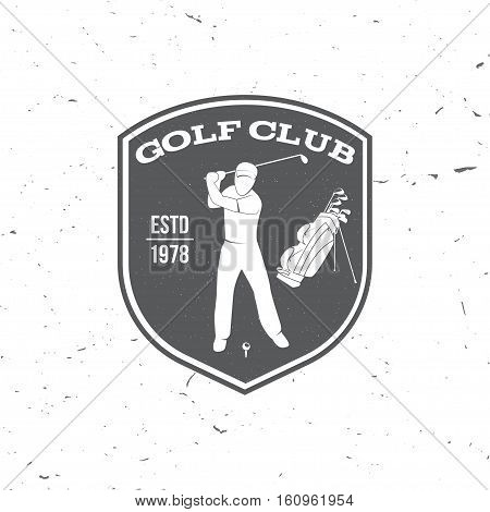 Golf club concept with golfer and golf bag. Vector golfing club retro badge. Concept for shirt, print, seal or stamp. Typography design- stock vector.