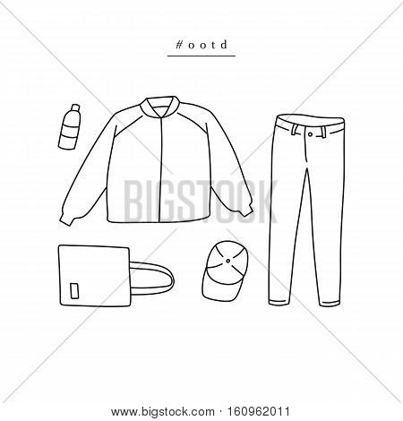 Outfit of the day. Hand drawn clothes: baseball jacket jeans tote bag baseball cap in linear style (flat lay / top view)