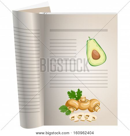 Template pages of a cookbook. You can have there favorite recipes. Avocado sliced with a bone. Mushrooms mushrooms whole and sliced. The template for the layout of text recipes.
