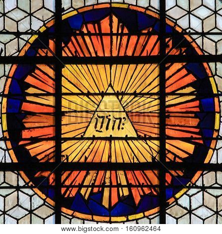 Stained Glass Of The Tetragrammaton - The Name Of God