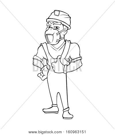 builder in helmet and respirator shows like with his hand. Vector illustration in linear style isolate on white background