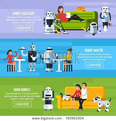 Artificial intelligence horizontal banners with robots helping people in different situations in flat style vector illustration