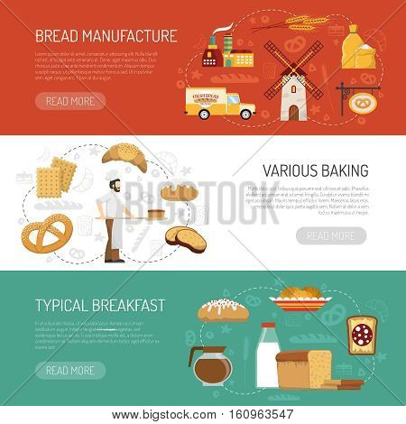 Horizontal bakery banners presenting bread manufacture process and typical breakfast flat isolated vector illustration