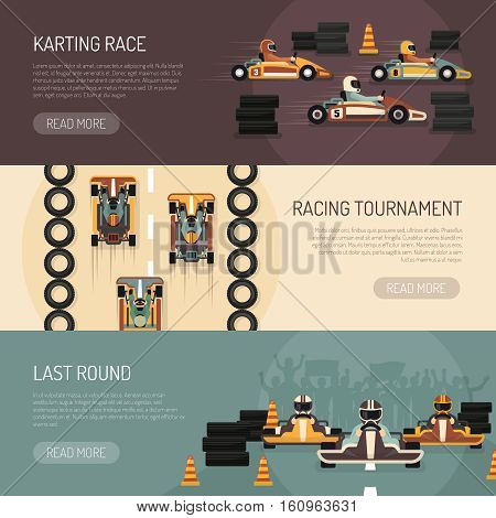 Three horizontal motor race banners presenting karting tournament flat isolated vector illustration