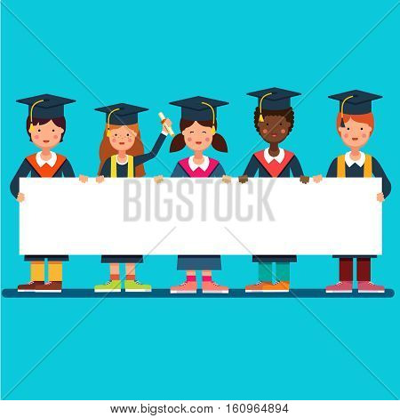 Multicultural group of graduate students girls and boys in mortar board hats standing and holding big white space placard banner together. Flat style modern vector illustration.