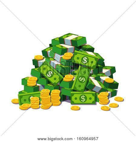 Big pile of cash money and some gold coins. Heap of packed dollar bills. Flat style modern vector illustration isolated on white background.
